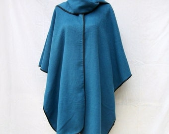 SALE 80s Reversible Wool Cape Cloak Fringed Scarf One Size Scotland