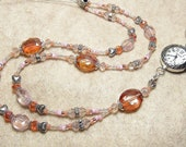 Custom Made Orange and Pink Beaded ID Lanyard for Deb