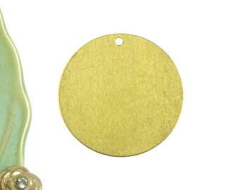 8 large BLANK round pendants. Raw Brass  29mm (S203)
