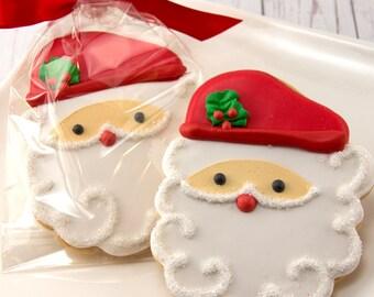 Santa Christmas Cookies, Holiday Cookies  - 12 Decorated Sugar Cookies