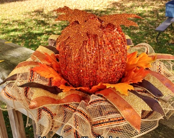 SALE - Fall Pumpkins Leaves - Fall Halloween Centerpiece