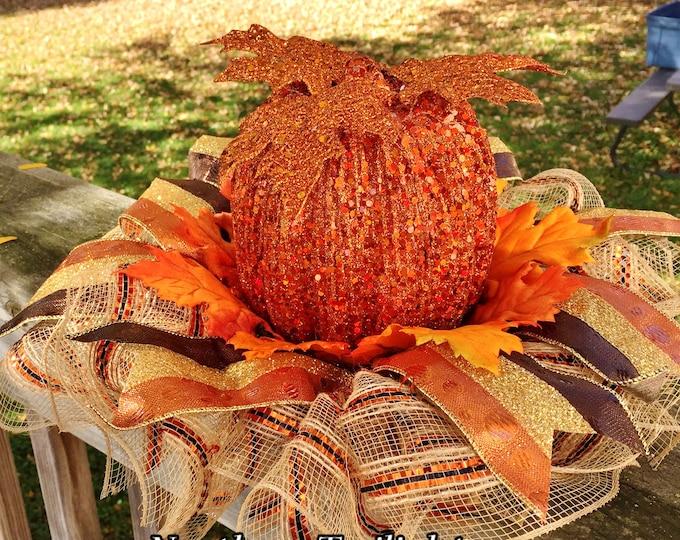 SALE- Fall Pumpkins Leaves - Fall Halloween Centerpiece