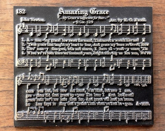 Platted electrotype music hymn - AMAZING GRACE