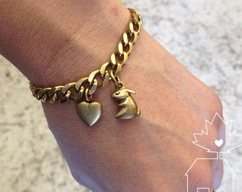 Solid Brass Bunny Nugget & Heart Locket Charm Bracelet
