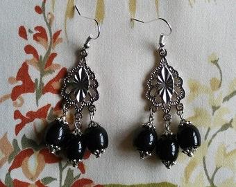 Bakelite Chandelier Earrings - Black 2