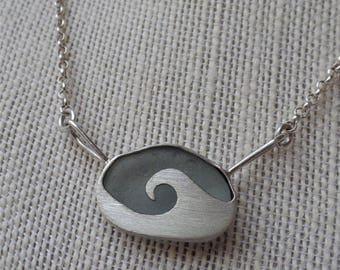 Wave necklace with sea glass, mermaid tears, ocean wonders pendant.