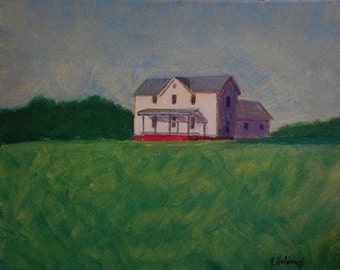 Holdren Art Impressionist Realism Farmhouse Acrylic Landscape Painting ACEO ATC Home Decor Print