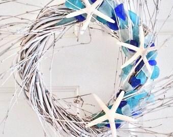 BEACH DECOR SEAGLASS wreath, driftwood-toned spiral, nautical decor, coastal wreath, beach glass wreath, door wreath