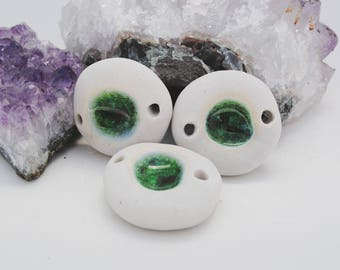 ceramic pendants porcelain and glass set of three necklaces