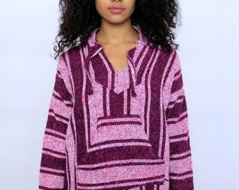 30% OFF HOLIDAY SALE The Pink Surfer Striped Hoodie Poncho Medium Large
