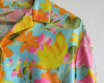 30% OFF HOLIDAY SALE The Vintage Neon Floral Print Button Up Blouse Shirt