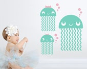 Jellyfish Wall Decals: Ocean Baby Nursery Theme Under the Sea Nautical Cute Sea Life Aquarium Underwater Beach Wall Sticker Kids Room Decor