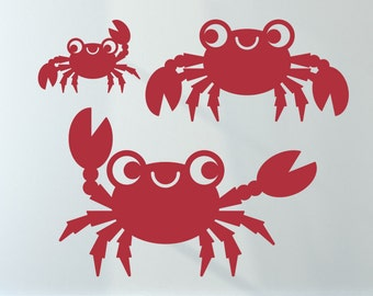 Happy Crab Wall Decals: Ocean Baby Nursery Nautical Beach Cute Underwater Sea Life Kids Under the Sea Wall Stickers Room Decor