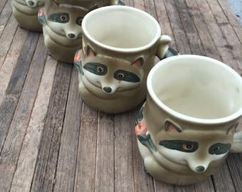 Vintage Racoon Holiday Coffee Mugs Fitz Floyd 4