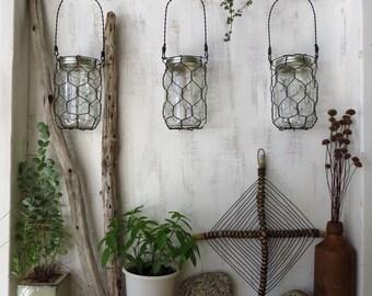 Mason Jar Basket, Wire, Hanging