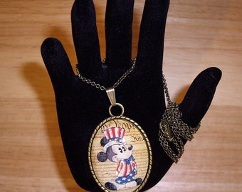 "Patriotic Mickey Pendant Necklace 24"" Antique Bronze Chain With Glitter"