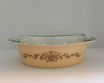 Gold Rose Pyrex Dish 1960's