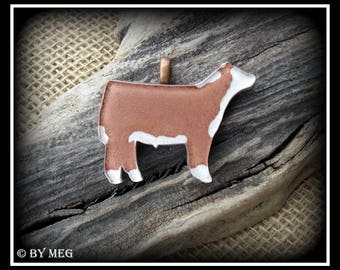 """Glass Hereford Show Steer Pendant, Cattle Jewelry Approx 2"""""""