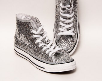 Tiny Sequin - Starlight Sterling Silver and Crystal Converse Canvas Hi Top Sneakers Shoes with Rhinestoned Toes