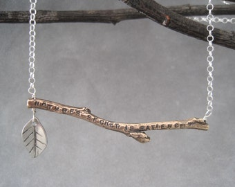 Natures Secret is Patience - Message Jewelry - Twig - Mixed Metal - Nature Lover - Twig Necklace