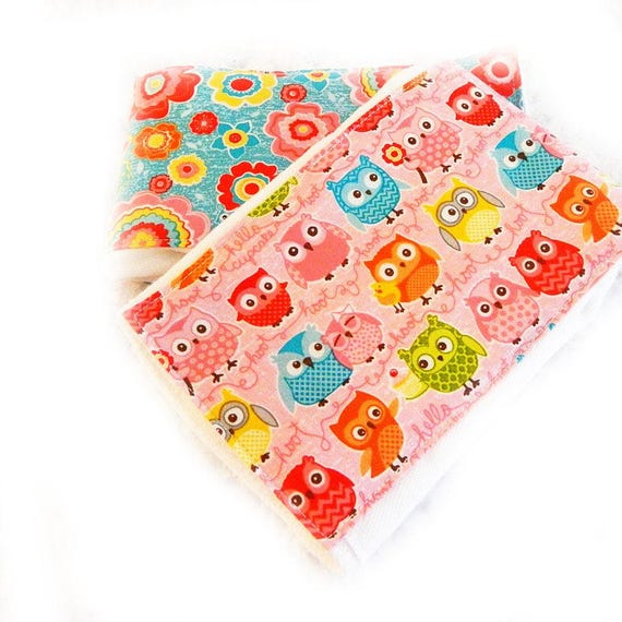 Pink and Blue Owl Girl Burp Cloths - set of 2
