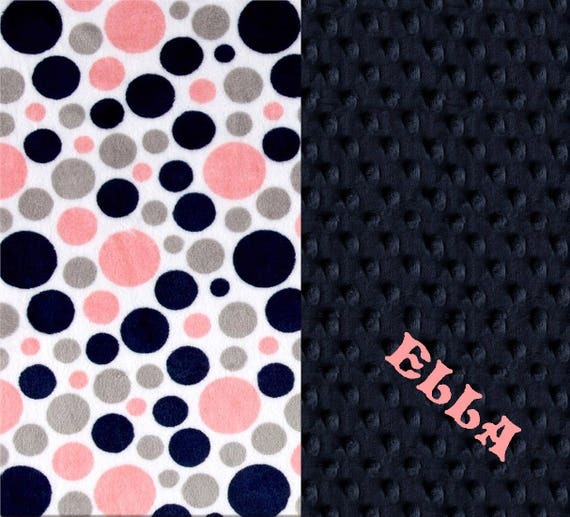 Personalized Minky Baby Blanket or Lovey- Coral Navy Gray Dots // Custom Double Minky Baby Blanket // Name Baby Blanket // Custom Blanket