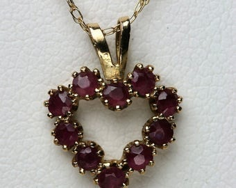Vintage 14k and Ruby Heart Pendant with Chain