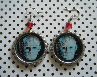 Pinhead close up Hellraiser inspired bottle cap earrings with red glass beads