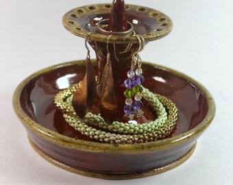 Jewelry Bowl - Earring Bowl in Redish Orange Glaze Ready to Ship