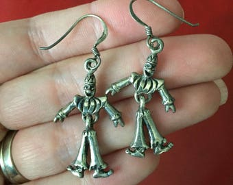 Vintage Dangle Clown Dangle Earrings with Jointed Body - Sterling Silver .925