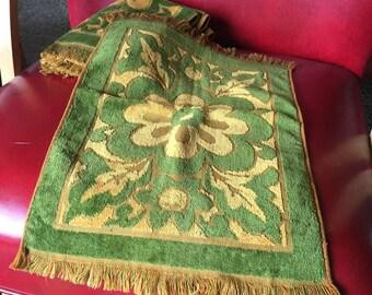 Vintage NOS Fieldcrest Set 4 Green & Gold Guest Hand Towel - Retro Bathroom, 100% Cotton - Made in USA