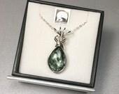 """Made In Alaska Ultra Rare Russian Seraphinite Argentium  Sterling Silver Wire Wrapped Pendant w/ 18"""" Chain"""