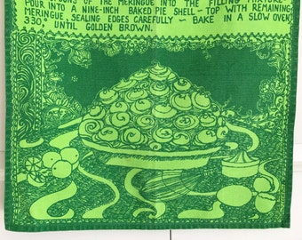 Vintage Tea Towel Key Lime Pie Recipe from Key West Florida Fabrics Artist Amy Lee dePoo