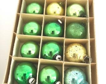 Vintage CHRISTMAS Tree Ornaments Mercury Glass Green Gold Blue Mini Balls Feather Tree