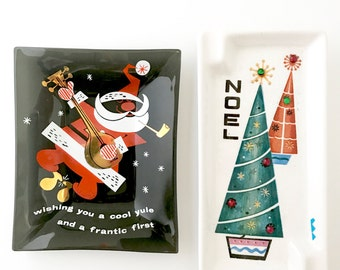 Vintage Christmas Glass Ashtrays Dishes Trinket Trays Santa Claus Noel Tree FUNNY