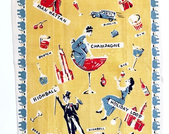 Vintage Tea Towel Cocktail Party Mixed Drinks Martini Glasses Bar Textile Elephants