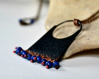 ON SALE 20% OFF Bohemian necklace, hammered copper pendant necklace with lapis lazuli beads - Marrakesh
