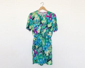 Vintage 1980s Short Sleeve Colorful Floral Romper - M
