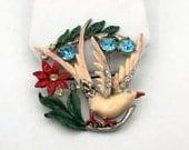 Enamel, Pave and Colored Rhinestone Bird Brooch, Vintage 1930s, Pot Metal