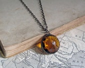 Amber Faceted Round Glass Pendant Stained Glass Jewelry