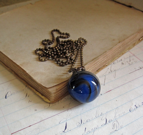 Black and Blue Glass Shooter Marble Necklace Jewelry