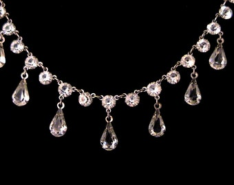 Vintage Estate Open Back Crystal Drop White GF Necklace