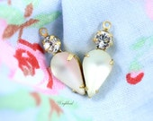 Frosted White & Crystal Vintage Pear Shaped Set Stones Earring Drops Connectors Brass Settings - 2
