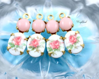 Pink & Light Pink Vintage Glass Stone 16x6mm Set Stones Earring Drops Vintage Oval Rose Flower Stones 1 Ring Brass Settings - 2