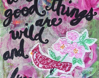 Original Painting - Wild and Free - Acrylic Painting with Vintage Embroidery and Stitching