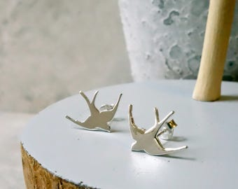 Silver Swallow Earrings, Swallow Earrings, Sterling Silver, Bird Earrings, Swallow, Earrings, Bird Studs, Silver, Studs