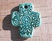 Handmade clay abstract cross pendant. Polymer clay cross.