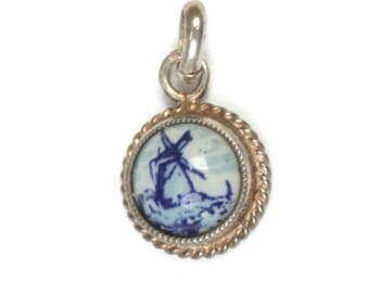 Netherlands Delft Windmill Charm 830 Silver Holland Vintage Gift Idea