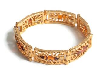 Topaz Amber Glass Navette Bracelet Gold Plated SHP Vintage