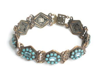 Turquoise Bead and Rhinestone Link Bracelet Filigree Repousse Design Vintage